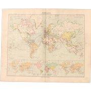 Art Nouveau Map of the World - World Map (Stieler 1905)