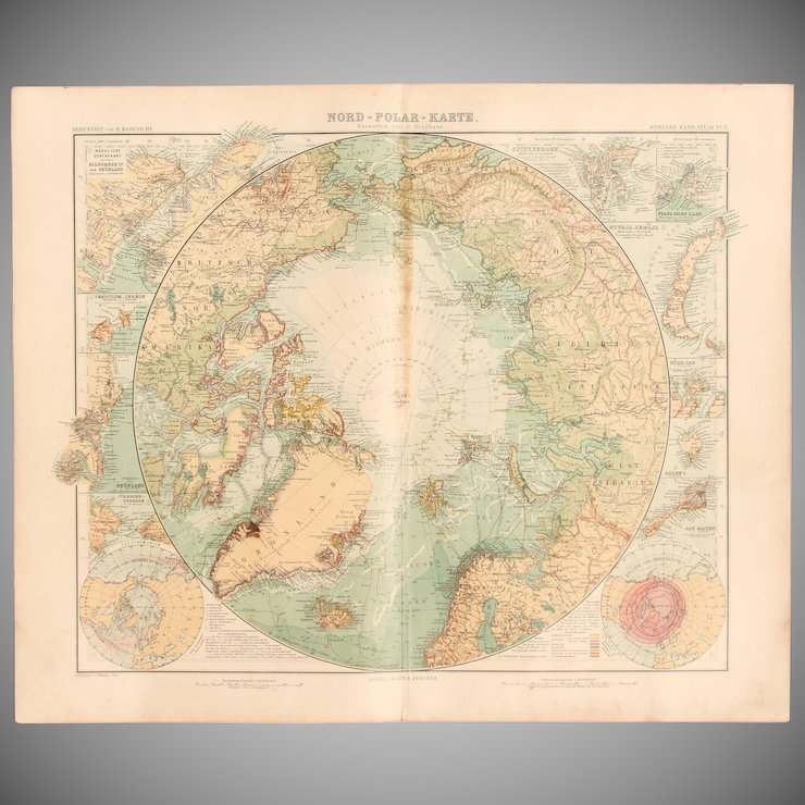 Art nouveau map of the arctic north polar map stieler 1905 art nouveau map of the arctic north polar map stieler 1905 gumiabroncs Gallery