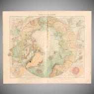 Art Nouveau Map of the Arctic / North Polar Map (Stieler 1905)