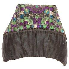 "19th Century Antique Silk & Hand Beaded Hood / Hat / Bonnet / Cap ""Stülpchen"" from Hesse Germany"