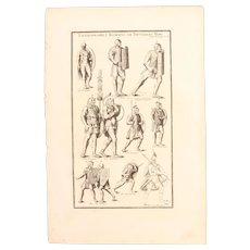 18th Century Copper Engraving of Ancient Roman legionnaires from L'antiquité expliquée et représentée en figures by Bernard de Montfaucon