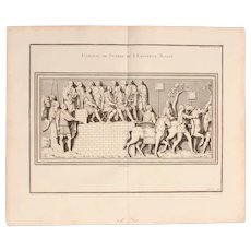 """18th Century Copper Engraving of """"Council of War of Emperor Trajan"""" from L'antiquité expliquée et représentée en figures by Bernard de Montfaucon"""