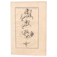 18th Century Copper Engraving of Ancient Cavalryman from L'antiquité expliquée et représentée en figures by Bernard de Montfaucon