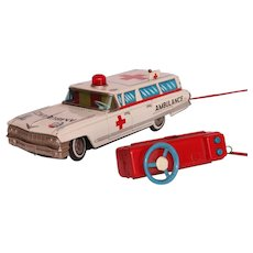 Rare 1960's CADILLAC Ambulance Tin Car Toy by YONEZAWA - Made in Japan Battery Operated Car with Remote
