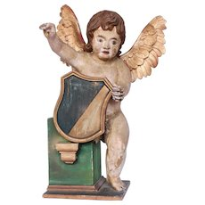 17th Century Putti / Angel / Cherub Baroque Statue from Spain - Polychrome Wood Carved
