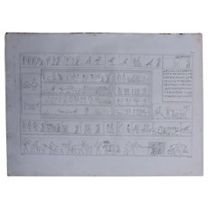 "1802 Original Copper Engraving ""Hieroglyphs on a Relief"" from Napoleons Travels to Egypt (Vivant Denon) Page 125"