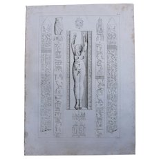 1802 Original Copper Engraving of Hieroglyphs & a Statue from Napoleons Travels to Egypt (Vivant Denon) Page 118