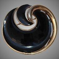 Vintage Signed Trifari Enamel Black Gold tone Swirl Shell Brooch Pin