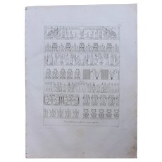 """1802 Original Copper Engraving """"Different emblematic Reliefs"""" from Napoleons Travels to Egypt (Vivant Denon) Page 116"""