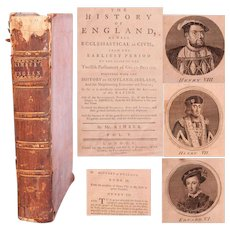 "18th Century Book ""The History of England"" by Kimber - Vol. 5 with History of Henry VIII & more"