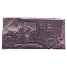 1910's Printing Block / Cliché of Classic Car - Wood Engraving