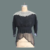 Victorian Black Silk & Lace Blouse