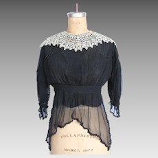 Victorian Black Silk & Lace Blouse