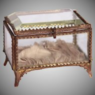 Belle Epoque French Ormolu Beveled Glass Jewelry Box