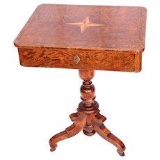Original Biedermeier Sewing Desk / Side Table - 1830's German Cherry Wood Veneer Sewing Stand with Drawer