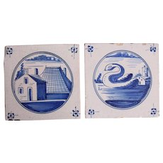 18th century Set of two Dutch Delft Tiles - Blue and White Pottery Tiles with Swan & Houses