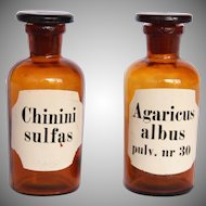 Set of two 19th Century Apothecary Medicine Glass Jars / Bottles