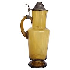 19th Century Belle Epoque Large Pitcher - Glass with Pewter Lid