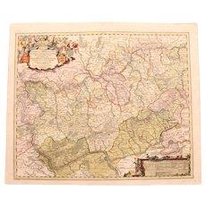 17th Century Map of the Province of Nassau including Mainz, Koblenz Frankfurt & more (Nicolaum Visscher)
