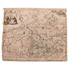 17th Century Map of the Province of Hainaut (Hubert Jaillot)