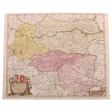 17th Century Antique Baroque Map of Northern Austria by Frederick de Witt