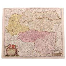 17th Century Antique Baroque Map of Northern Austria by Frederick de Witt