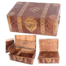 Antique Carved Rosewood Travel Chest / Treasure Box with Secret Compartment