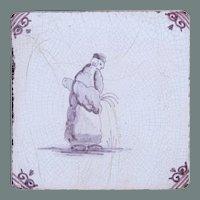 Rare 18th Century Delft Tile - Man relieving himself - Dutch Purple & White Tile