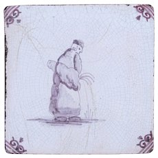 Rare 18th Century Delft Tile - Man relieving himself - Dutch Purple & White Tile