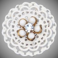 Vintage White Enamel Flower Brooch with Rhinestone - Retro Costume Jewelry