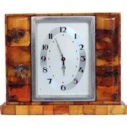 Masterpiece Art Deco Genuine Amber Desk Top Clock by State Amber Manufactory Konigsberg