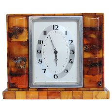 Masterpiece Art Deco Genuine Amber Desk Top Clock by State Amber Manufactory Konigsberg