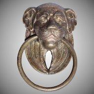 19th Century Empire Bronze / Brass Metal Lion Head Handle