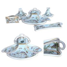 Art Nouveau Hand Painted Porcelain Desktop Stationery Set by Fraureuth - 1907 Inkwell, Candleholder, Matchholder & more with fish pattern