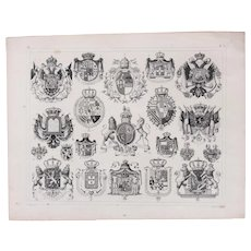 1850's Original Antique Steel Engraving - Coat of Arms of European Royalty