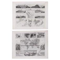 Set of Two 1850's Original Antique steel engravings - Volcanoes & Wind