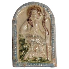 19th Century Folk Art Relief of St. John the Baptist - Religious Pottery Picture