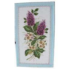 Art Nouveau Hand Painted Floral Enamel Plaque - Graniteware Sign