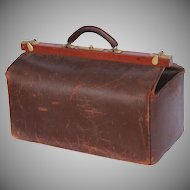 1910's Leather Doctors Bag - Antique Gladstone Bag