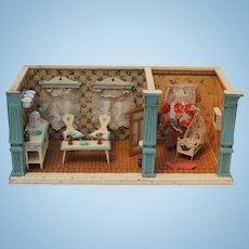 Antique Doll House with Kitchen and Nursery German Delft Style Room Box