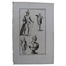 18th Century Copper Engraving of Ancient Roman Military Habit / Uniform from L'antiquité expliquée et représentée en figures by Bernard de Montfaucon
