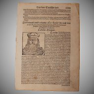 "16th Century Woodcut of ""Charlemagne"" / Charles the Great / Carolus Magnus - Book page of Cosmographia (Sebastian Münster)"