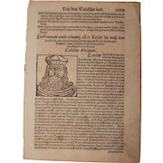 """16th Century Woodcut of """"Charlemagne"""" / Charles the Great / Carolus Magnus - Book page of Cosmographia (Sebastian Münster)"""