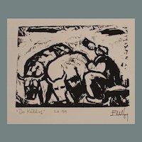 "Eberhard Viegener Expressionist Original Woodcut ""Der Kuhhirt"" (The Cowherd) from 1919 Germany"
