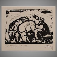 "Eberhard Viegener Expressionist Original Woodcut ""Der Kuhhirt"" (The Cowherd) from 1919 Germany"