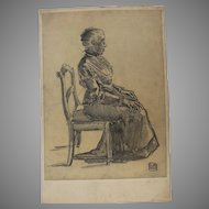 """1900's Original Art Nouveau Charcoal Drawing """"Sitting Old Lady"""" by Franz Brantzky"""