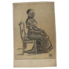 "1900's Original Art Nouveau Charcoal Drawing ""Sitting Old Lady"" by Franz Brantzky"