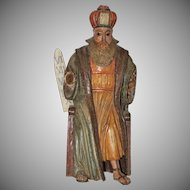 Rare 18th Century Sculpture of Moses - Wood Carved Polychrome Baroque Figure from Spain