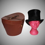 Antique Victorian Top Hat with Leather Case