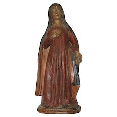 15th Century Sculpture of Virgin Annunciate - Renaissance Wood Carved Polychrome Figure of Mary / Madonna from Spain